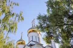 Bóvedas de oro de la iglesia ortodoxa contra el cielo azul y los árboles verdes Foto de archivo