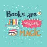 Böcker är en unikt bärbar magisk citationsteckenmotivationaffisch Arkivfoton
