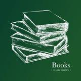 Böcker den drog handen skissar vektorillustrationen Arkivbild