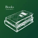 Böcker den drog handen skissar vektorillustrationen Arkivbilder