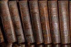 Böcker i hylla Arkivbild