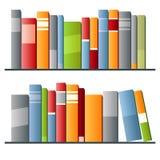 Böcker i rad på vit bakgrund Arkivbilder