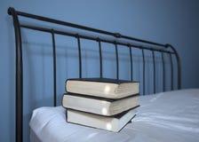Böcker i säng Royaltyfri Fotografi