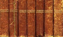böcker inbundet läder Arkivfoto