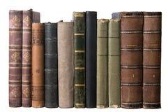 böcker isolerade gammal rad royaltyfri bild