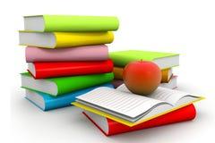 Böcker med äpplet Fotografering för Bildbyråer