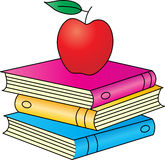 Böcker med äpplet Royaltyfria Foton