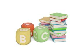 Böcker med abc-kuber på vit bakgrund illustration 3d vektor illustrationer