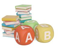 Böcker med abc-kuber på vit bakgrund illustration 3d stock illustrationer