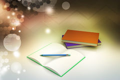 Böcker och blyertspenna, utbildningsbegrepp Royaltyfria Bilder