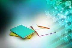 Böcker och blyertspenna, utbildningsbegrepp Arkivbild