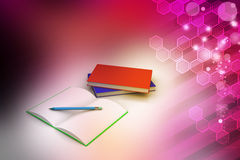 Böcker och blyertspenna, utbildningsbegrepp Royaltyfri Fotografi