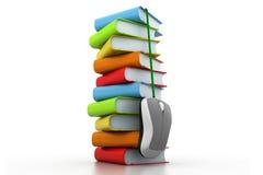 Böcker och datormus Royaltyfria Foton