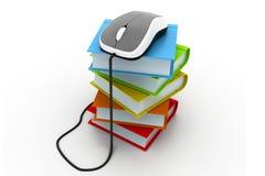 Böcker och datormus Fotografering för Bildbyråer