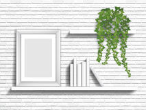Böcker och houseplant på hyllor Royaltyfri Foto