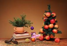 Böcker och julgran Arkivbild