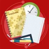 Böcker och skolaprocess Handstilteckning i zoshite Ämnen för kontorsprednadlezhnostistudie Dra tillbaka till royaltyfri illustrationer