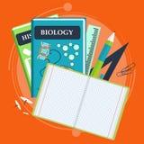 Böcker och skolaprocess Handstilteckning i zoshite Ämnen för kontorsprednadlezhnostistudie Dra tillbaka till stock illustrationer