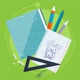 Böcker och skolaprocess Handstilteckning i zoshite Ämnen för kontorsprednadlezhnostistudie Dra tillbaka till vektor illustrationer