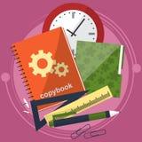 Böcker och skolaprocess Handstilteckning i zoshite Ämnen för kontorsprednadlezhnostistudie Dra tillbaka till vektor stock illustrationer
