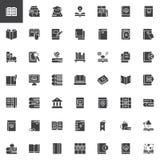 Böcker och uppsättning för utbildningsvektorsymboler vektor illustrationer