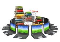 böcker online royaltyfri illustrationer