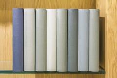 Böcker på den glass hyllan Royaltyfri Bild