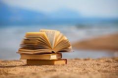 Böcker på en strand Arkivfoto