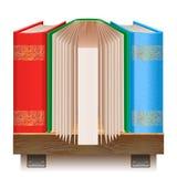 Böcker på en trähylla. Symbol för din website. royaltyfri illustrationer