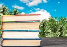 Böcker på en trätabell vikt vertikalt royaltyfri fotografi