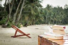 Böcker på stranden Fotografering för Bildbyråer