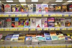 Böcker på supermarket Royaltyfria Foton