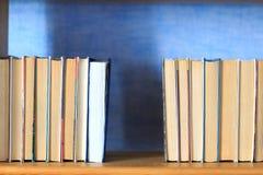 Böcker på trähyllan Arkivfoto