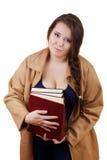 böcker plus tjock volymkvinna för format arkivbild