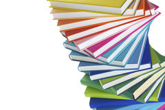 böcker stänger spiralt staplar upp Fotografering för Bildbyråer