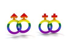 Bög och lesbisk kvinna royaltyfri illustrationer