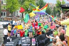 Bög Pride Canal Parade Amsterdam 2014 Arkivfoto