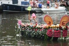 Bög Pride Canal Parade Amsterdam 2014 Royaltyfri Bild