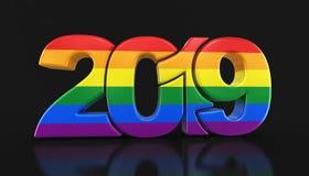 Bög Pride Color New Year 2019 royaltyfri illustrationer