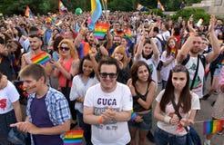 Bög Pride Parade i Sofia, Bulgari juni 2017 Arkivfoto