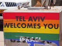 Bög Pride Welcome i Tel Aviv royaltyfria foton