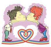 Bögen kopplar ihop att kyssa. Royaltyfri Foto