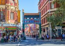 Bögen Melbournes Chinatown Stockfotografie