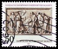 Böhmen-Flüchtlingsdetail der Entlastung, Monument Königs Wilhelm vor I, Regelung von Böhmen in Rixdorf 250 Jahren serie, circa 19 stockbilder