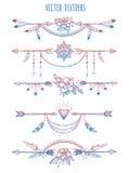 Böhmische Teiler mit Pfeilen und Blumen lizenzfreie abbildung