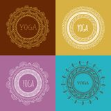 Böhmischer Mandala- und Yogahintergrund mit rundem Stockbild