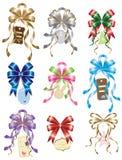 böj den set etiketten för gåvan stock illustrationer