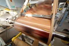 Böjande maskin för kopparfolie Arkivfoto