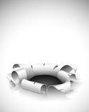 böjda kanter hole rivet papper stock illustrationer