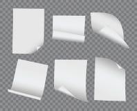 Böjde krullade det realistiska mellanrumet för vektorn och den pappers- samlingen på trans. Royaltyfria Bilder